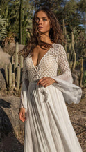 Load image into Gallery viewer, Lace Hollow Trumpet Sleeve Sunscreen Beach Dress