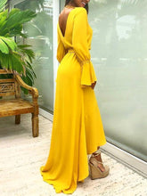 Load image into Gallery viewer, Yellow V Neck Long Sleeve Irregular Maxi Dress