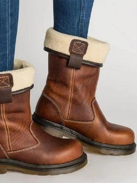 Casual Block Heel Round Toe Brown Boots