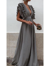Load image into Gallery viewer, 2018 Solid Color Deep V Neck Backless Maxi Dress