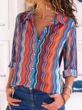 Load image into Gallery viewer, Casual Multicolor Stripes Long Sleeves Shirts Tops