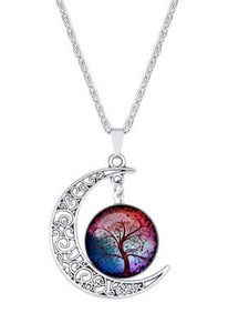 Colorful Hollow Tree of Life Necklaces Moon Pendant Necklace
