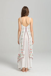 Spaghetti Strap Print Embroidered Bohemia Beach Maxi Dress