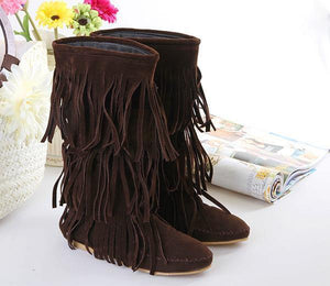 Flat tassels casual women s shoes in the tube female boots large size 40-43 yards