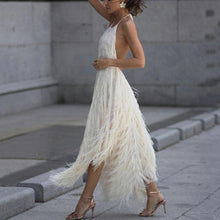 Load image into Gallery viewer, Solid Color Backless Halter Tassel Maxi Dress