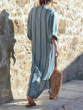 Load image into Gallery viewer, Stripe Loose Casual Linen Cotton Maxi Dress