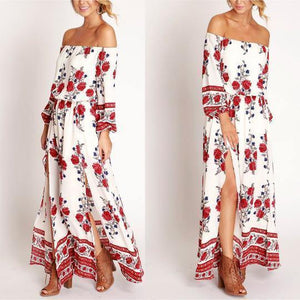 Cutaway Collar Printed Split Long Floral Off Shoulder Dress