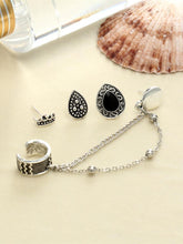 Load image into Gallery viewer, 4 PCS Vintage Chain Tassels Crown Water Drop Pattern Earrings