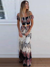 Load image into Gallery viewer, Print Off Shoulder Tube Top High Waist Skirt 2 Pieces Set