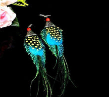 Load image into Gallery viewer, Peacock Feather Ethnic Long Earrings