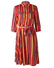 Load image into Gallery viewer, Spring Casual Stripes Lapel Shirt Midi Dress