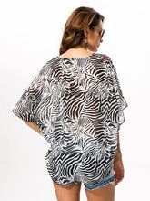 Load image into Gallery viewer, Fashion Black Stripe V Neck Shawl Cover-up Tops