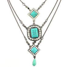 Load image into Gallery viewer, Multilayer Square Pattern Turquoise Necklaces Accessories