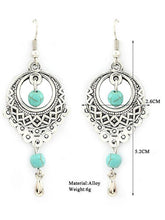 Load image into Gallery viewer, Vintage Ethnic Turquoise Hollow Carved Water Drops earrings