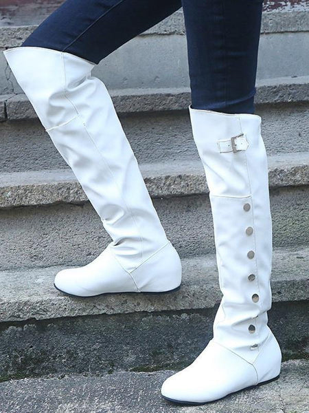 Autumn and Winter Show Thin High-heeled Knight Boots with High Leather Buttons and Long Boots