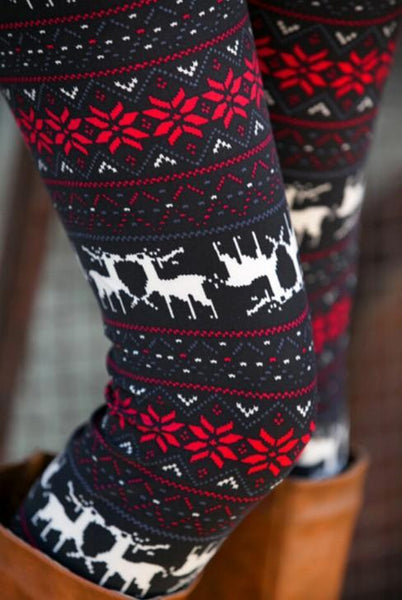 Black Snowflakes Elk Christmas Warm Leggings