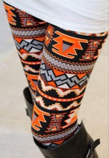 Orange Geometric Pattern Leggings