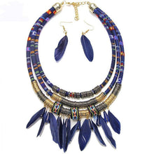 Load image into Gallery viewer, Multilayer Alloy Feather Tassel Necklace Earrings Set