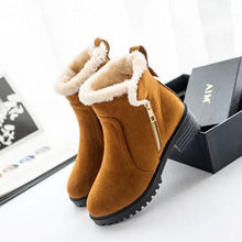 Load image into Gallery viewer, Warm Scrub Short Boots Side Zipper Mid Heel Ankle Shoes