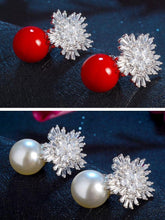 Load image into Gallery viewer, Fashion Christmas Zircon Pearl Snowflake Earrings