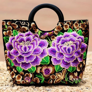 National Style Embroidery Double-Sided Embroidery Portable Versatile Bag
