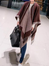 Load image into Gallery viewer, Women Contrast Color Batwing Sleeve Tassels Knit Cloak Shawl