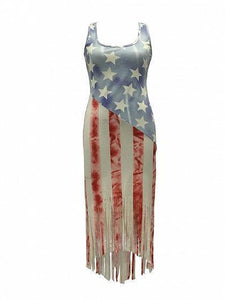 American Flag Tassel Dipped Hem Bodycon Midi Dress