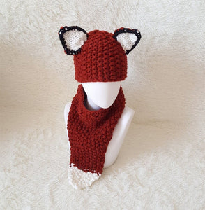 Autumn And Winter Cartoon Children Knit Hat Fox Bib Hat Suit