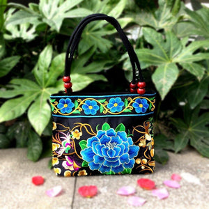 Big Peony Embroidery Ethnic Travel Women Shoulder Bags Handmade Canvas Wood Beads Handbag