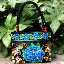Load image into Gallery viewer, Big Peony Embroidery Ethnic Travel Women Shoulder Bags Handmade Canvas Wood Beads Handbag