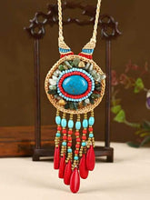Load image into Gallery viewer, Hand-woven Folk Style Tibet Turquoise Spike Long Necklace