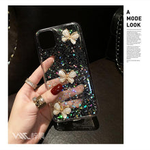 Load image into Gallery viewer, 3D Bling Glitter Pearl butterfly soft silicone Case For iPhone 12 11 Pro Max XR X XS 7 8 Plus cover