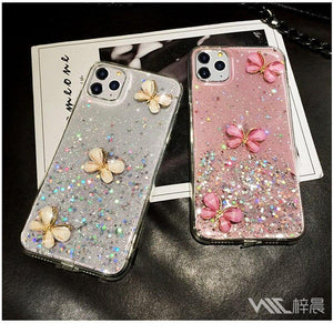 3D Bling Glitter Pearl butterfly soft silicone Case For iPhone 12 11 Pro Max XR X XS 7 8 Plus cover