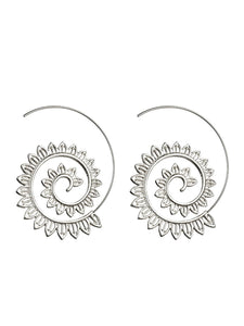 Womens Exaggerated Alloy Round Earrings