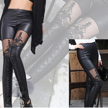 Load image into Gallery viewer, Pants lace stitching feet pants leggings punk female lace feet pants
