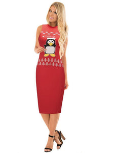 Stylish Women Xmas dress bodycon round neck sleeveless ladies casual party dress