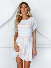 Load image into Gallery viewer, Stripe Round Neck Short Sleeve Mini Dress