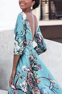 2018 Print Backless Split Bohemia Beach Maxi Long Dress