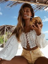 Load image into Gallery viewer, Sexy Off Shoulder Puff Sleeve Vintage Hollow Shirts Tops Blouse