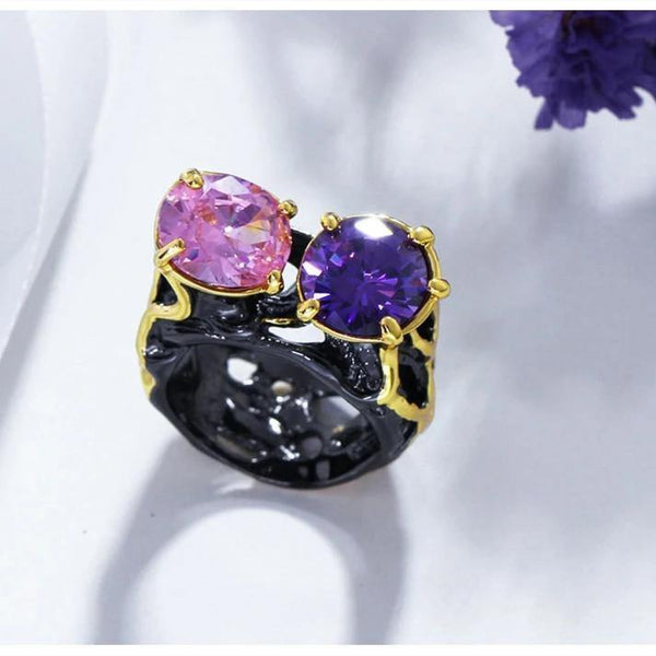 Solitaire Jewelry Vintage  Black Gold Color Women Rings