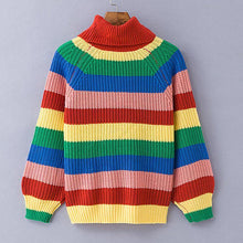 Load image into Gallery viewer, Rainbow Turtleneck Winter Jumpers Knitted Striped Oversize Pullover Sweater