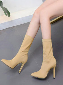 Solid Color High Heel Boots For Women