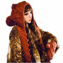 Load image into Gallery viewer, Winter Warm Handmade Knit Cute Cat Ears Hat With Scarf And Gloves Suit