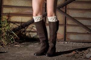Christmas boot cuff thick short-sleeved thick thick bamboo knit wool yarn socks - 1