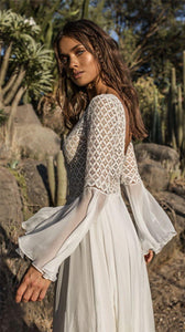 Lace Hollow Trumpet Sleeve Sunscreen Beach Dress