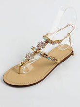Load image into Gallery viewer, Summer Rhinestone Flat Heel Sandals Shoes
