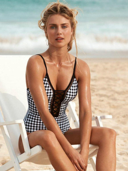 New One Piece Bikini Plaid Mesh Swimsuit