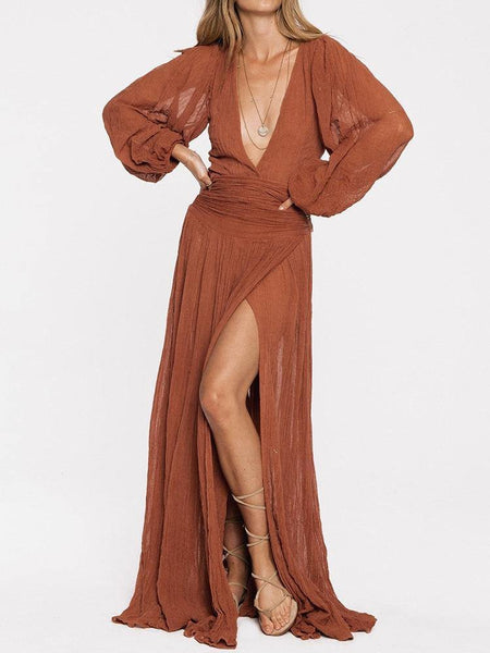 Sexy Split V Neck Long Sleeve Solid Color Long Dress