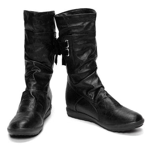 Big Size Pure Color Lace Up Mid Calf Flat Knight Boots