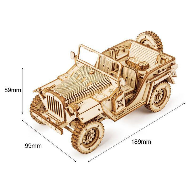 Wooden 3D assembled creative DIY puzzle - Military Jeep